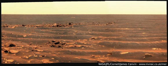 Opportunity's drive mosaic from sol 2009.  Compiled by James Cavin.  Used by permission.