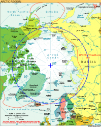 Arctic Circle marked in blue