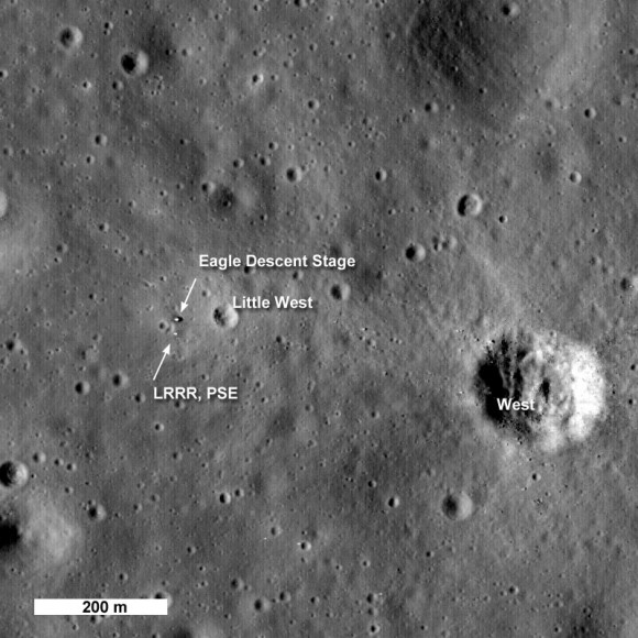 LROC's second look at the Apollo 11 Landing Site [NASA/GSFC/Arizona State University].  Click for larger version.