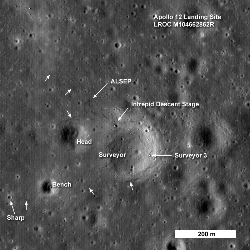 location moon map landing site apollo 12 - photo #22