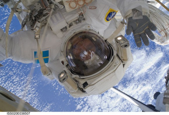 Christer Fugelsang during the third EVA of STS-128. Credit: NASA