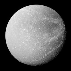 Saturn's moon Dione.  Credit: NASA
