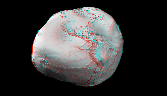 Anaglyph images created from an ESA video animation of global gravity gradients. A more accurate global map will be generated by ESA&#039;s GOCE craft.  Credit:  ESA and Nathanial Burton Bradford. 