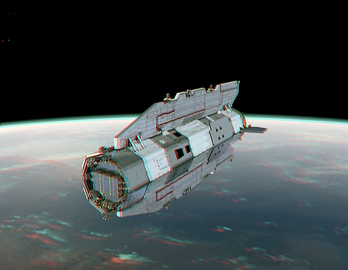 Anaglyph created from an ESA GOCE craft animation. Credit:  ESA and Nathanial Burton Bradford