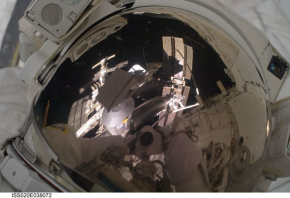 View on Danny Olivas&#039; helmet. Credit: NASA