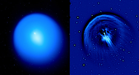 (Left) Image of comet Holmes from the 3.6-meter Canada-France-Hawaii telescope on Mauna Kea showing the large expanding dust coma. On the left, a 'raw' image is shown, in which the brightness reflects the distribution of dust in the coma of the comet (the nucleus is in the bright, point-like region to the upper left of center). On the right is shown the same image after application of the Laplacian spatial filter, to emphasize fine structures. The white/black circular objects are background stars enhanced by the Laplacian filter.