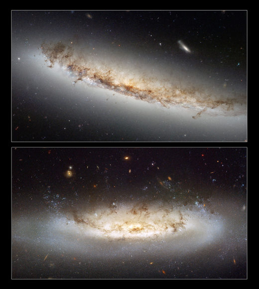 This composite shows the two ram pressure stripping galaxies NGC 4522 and NGC 4402.  Credit: NASA & ESA