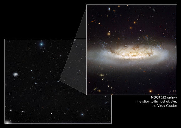 This image shows NGC 4522 within the context of the Virgo Cluster.   Credit: NASA, ESA and the Digitized Sky Survey 2. Acknowledgment: Davide De Martin (ESA/Hubble)