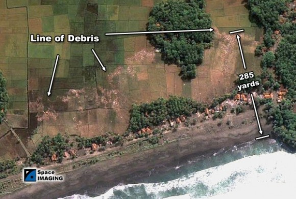 picture of damage to Pagandaran Beach Java
