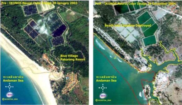 An image of damage to a resort in Phang-nga, Thailand