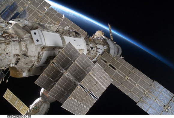 Part of the ISS backdropped by the limb of Earth.  Credit: NASA