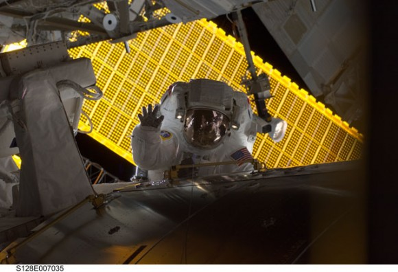 Stott  and the ISS. Credit: NASA