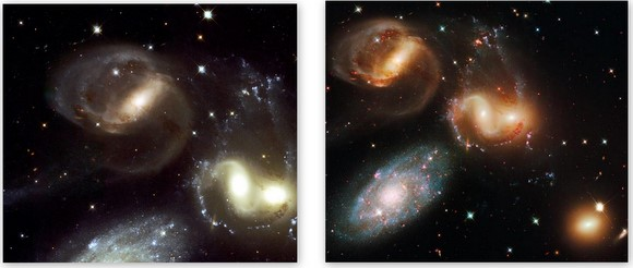 Stephan's Quintet from 2000 (left) and 2009 (right)  Credit:  NASA/ESA Hubble Team
