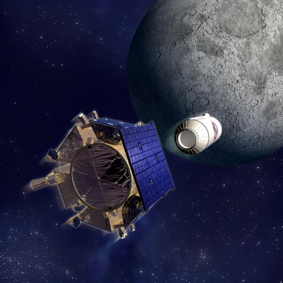 Artist impression of LCROSS approaching the Moon. Credit: NASA