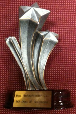 365 Days of Astronomy's Parsec Award for Best Infotainment Podcast.  Photo courtesy Dr. Pamela Gay