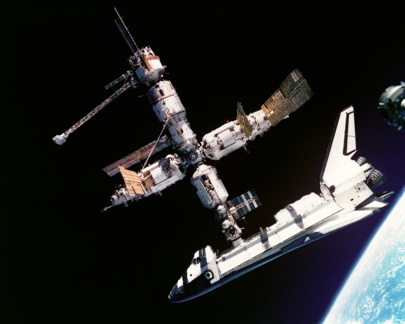 Space Shuttle Atlantis docking with Mir space station