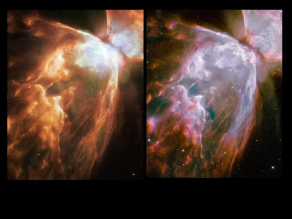 Butterfly Nebula before and after.  Credit: NASA/Hubble team. Collage by Stuart Atkinson