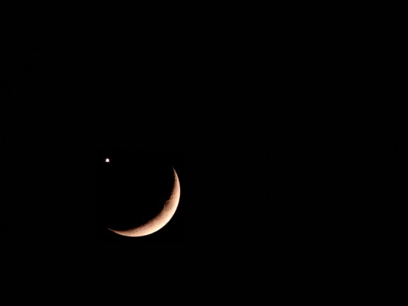 Almost New Moon with Venus. Image credit: Voobie