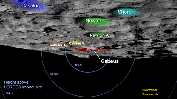 Key landmarks to locate Cabeus Crater.  Credit: NASA/Goddard Space Flight Center Scientific Visualization Studio