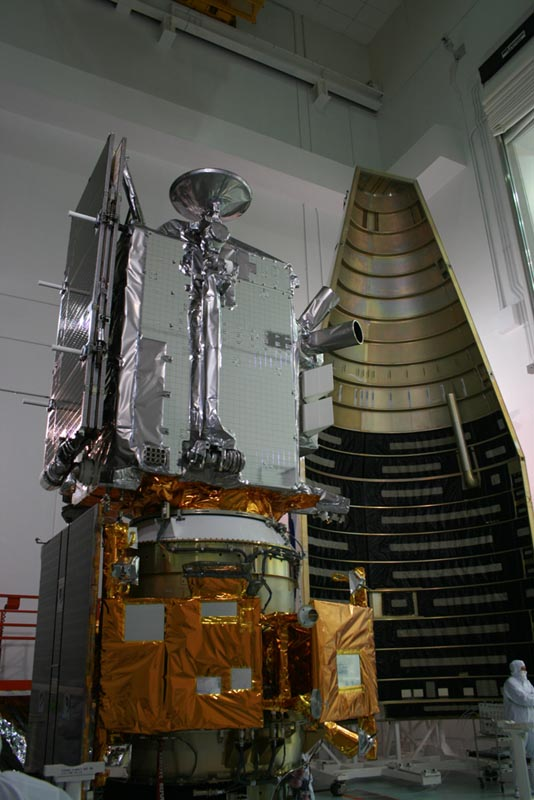 LRO (gray) and LCROSS (yellow) lunar spacecraft stacked adjacent to Atlas V payload fairing at Astrotech Payload Facility on May 15, 2009.  Credit: Ken Kremer and the Planetary Society.