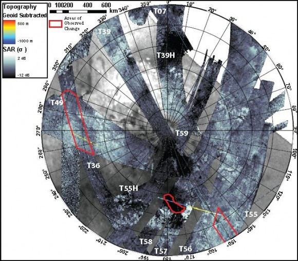 Stereographic projection of Synthetic Aperture Radar (SAR) imagery of Titans south polar region obtained between Sep. 2005 and July 2009. The Cassini radar has observed 60% of this area and 9% has repeat coverage. Areas where changes have been detected are outlined in red.  Credit: Alex Hayes and Jonathan Lunine