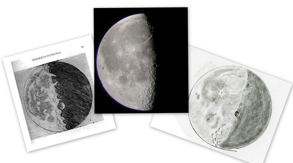 A collage of 21-day old Moons, sketched by Galileo, (left), an image from Jane Houston Jones' telescope