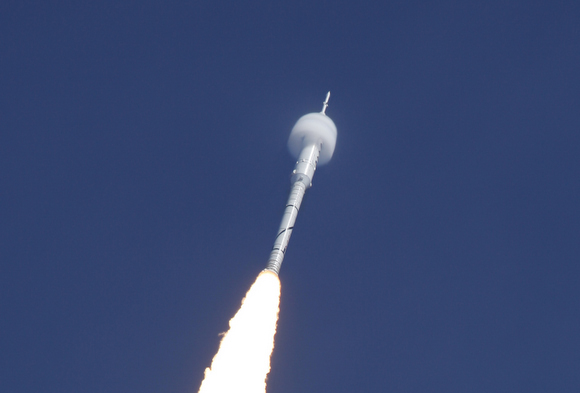 A bowshock forms around the Arex I-X rocket.  Credit: NASA/Scott Andrews