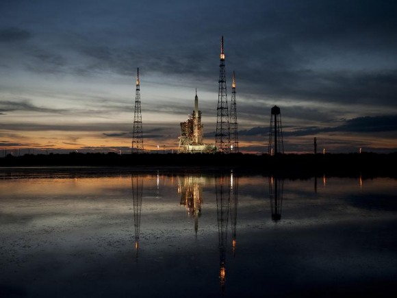 NASA's Ares I-X rocket is seen on Launch Pad 39B at NASA's Kennedy Space Center. Photo Credit: NASA/Bill Ingalls
