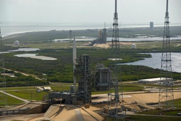 Ares I-X and the space shuttle on the launchpads at KSC. Credit: NASA