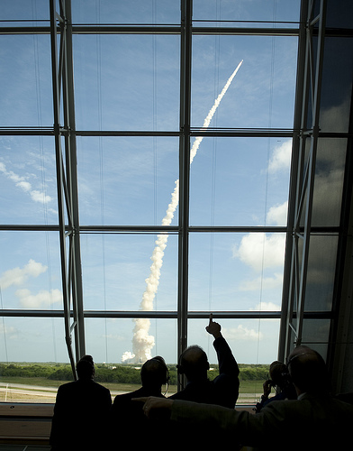 View from inside mission control.  Credit: (NASA/Bill Ingalls)