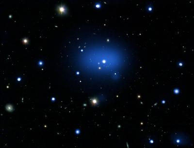 JKC041 galaxy cluster.  Credit: X-ray: NASA/CXC/INAF/S.Andreon et al Optical: DSS; ESO/VLT