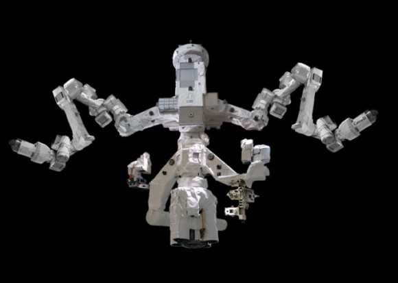 The Dextre robotic arm helps maintain the ISS. Image Credit: CSA
