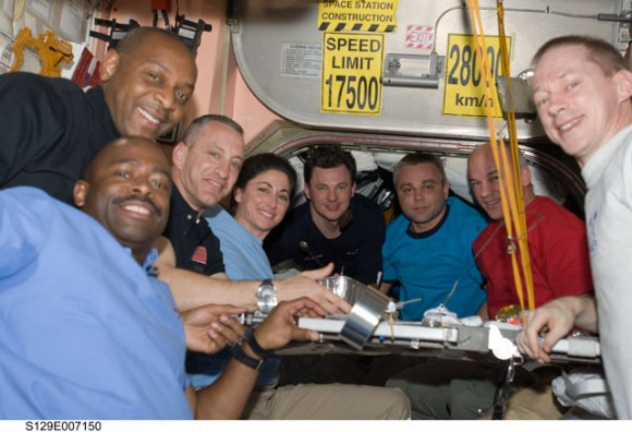 Mealtime on the ISS. Credit: NASA