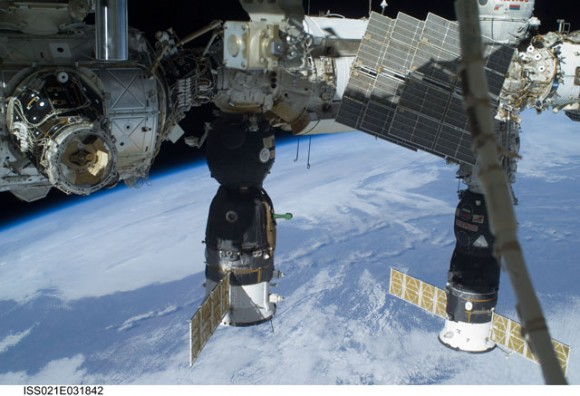 ISS and docked spacecraft. Credit: NASA