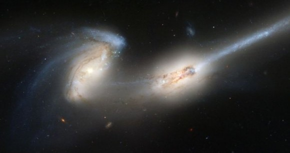 Galaxy mergers, such as the Mice Galaxies will be part of Galaxy Zoo's newest project.  Credit: Hubble Space Telescope