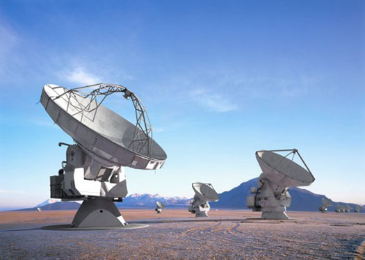 Atacama Large Millimeter/Submillimeter Array (ALMA) This artist's rendering shows what ALMA will look like upon completion in 2012. At 66 antennas strong, she's one beautiful array.  NRAO