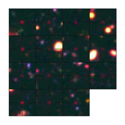 This is a composite of false color images of the galaxies found at the early epoch around 800 million years after the Big Bang. The upper left panel presents the galaxy confirmed in the 787 million year old universe. These galaxies are in the Subaru Deep Field. Credit:  M. Ouchi et al.