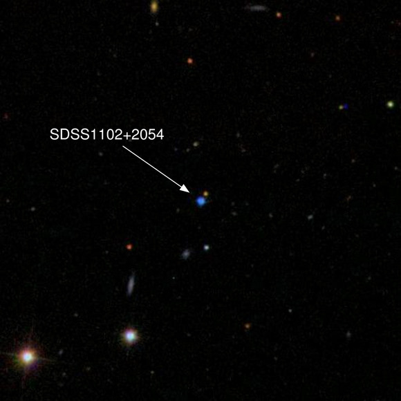 Sloan Digital Sky Survey spectroscopy of this inconspicuous blue object -- SDSS1102+2054 -- reveals it to be an extremely rare stellar remnant: a white dwarf with an oxygen-rich atmosphere