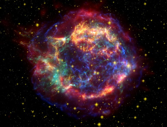 A Chandra X-ray Observatory image of the supernova remnant Cassiopeia A. Credit: Chandra image: NASA/CXC