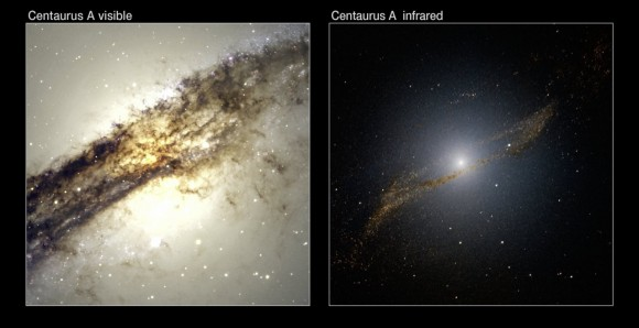 A comparison of Centaurus A in the visible and near-infrared spectra. Image Credit:ESO