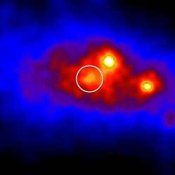 Brighter colors indicate greater numbers of gamma rays detected in this Fermi LAT view of a region centered on the position of Cygnus X-3 (circled). The brightest sources are pulsars. Credit: NASA/DOE/Fermi LAT Collaboration