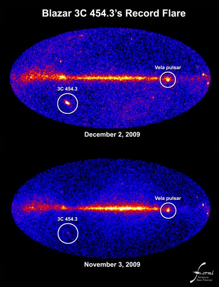 A comparison of the Fermi images from November 2nd and December 3rd of this year, showing the brightening of 3C 454.3. Image Credit: NASA