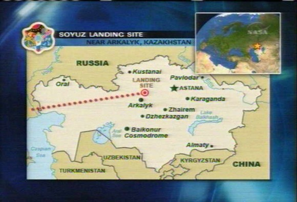 Soyuz TMA 15 landing track. Credit: NASA TV
