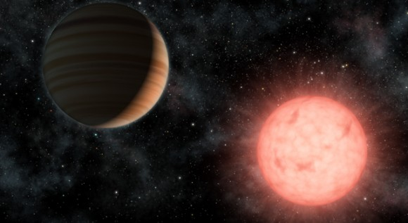 This artist's concept shows the smallest star known to host a planet. Image credit: NAS