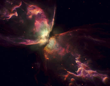 The Bug Nebula, as imaged by the Hubble Space Telescope's Wide-Field Camera 3. Image Credit: Anthony Holloway, JBCA