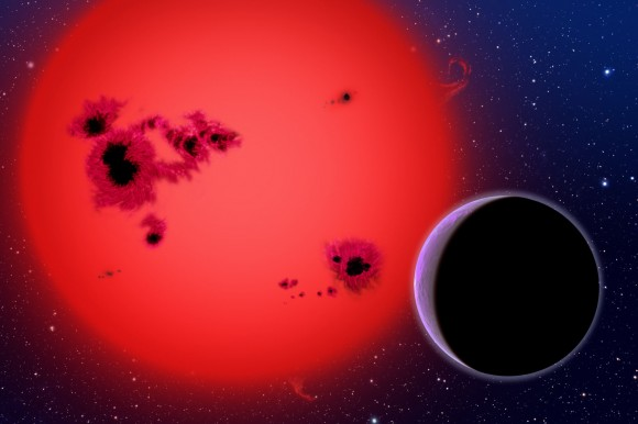 This artist&#039;s conception shows the newly discovered super-Earth GJ 1214b, which orbits a red dwarf star 40 light-years from our Earth. Credit: Credit: David A. Aguilar, CfA