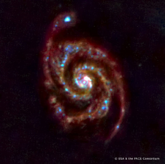 Herschel's Whirlpool Galaxy.  Credit:  ESA and PACS team
