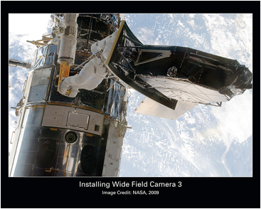 Installation of Wide Field Camera 3 by astronauts as part of servicing mission 4. Courtesy of NASA.