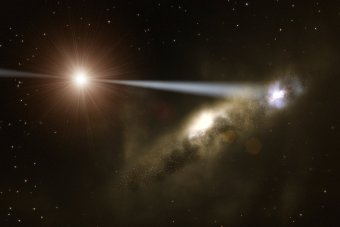 An artist's impression of how quasars may be able to construct their own galaxies. Image Credit: ESO/L. Calcada