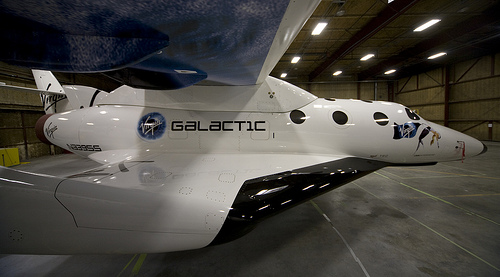 SS2 and VMS Eve in hangar 2.  Credit: Virgin Galactic